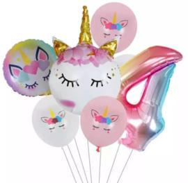 Folie ballonnen Unicorn 4 jaar (7-delig)