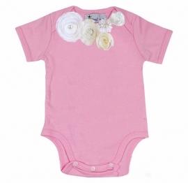 Baby shirt roze/wit/ivoor