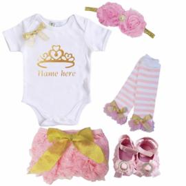 Princess set roze + eigen naam (5-delig)