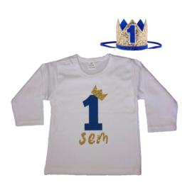 Shirt jongen getal 1 blauw-goud met naam + kroon