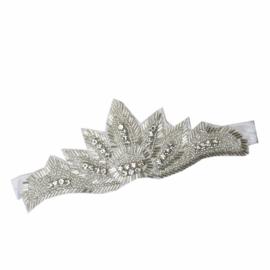 Haarband met steentjes wit
