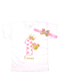 Minnie Mouse shirt stippen 1 + NAAM (2-delig)