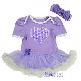 Babyjurk Hart lavendel wit + haarband