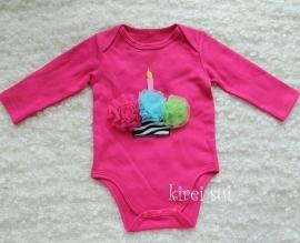 Baby romper pink Cupcake zebra 3 kleuren lange mouw