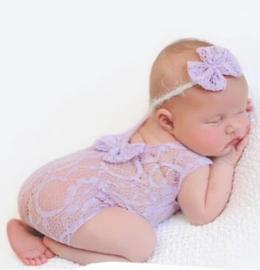 Newborn kanten pakje lavendel strik + haarband