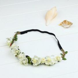 Haarband bloemen ivoor