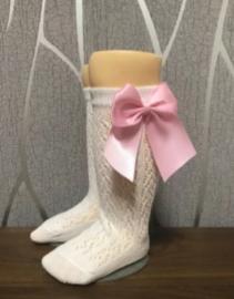 Kniekousen wit met roze strik (0-2 jaar)