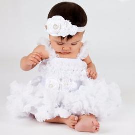 Feestelijke kinderjurk wit+ haarband + luxe riem (mt. 98/104)