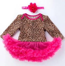 Babyjurk luipaard pink