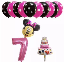Minnie Mouse ballon set ROZE 7 jaar (13-delig)