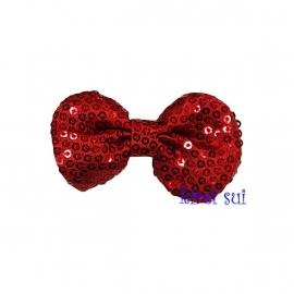 Haarclip strik glitter rood