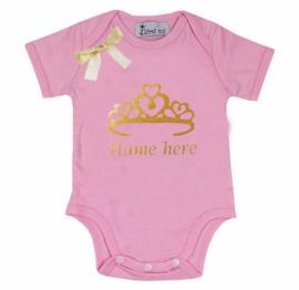 Baby shirt Kroon + eigen naam