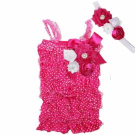 Jumpsuit Luxe Pink met stippen + haarband