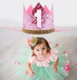 Haarband kroon roze glitter 1 jaar *