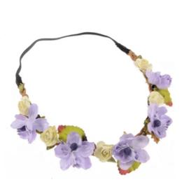 Haarband bloemen paars