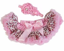 Pettiskirt Luipaard Roze + haarband