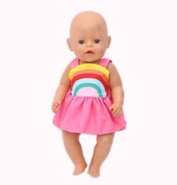 Regenboog poppen jurkje pink