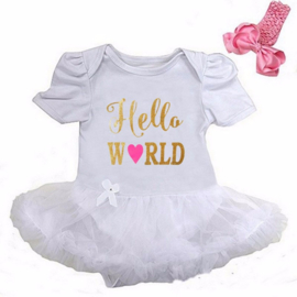 Babyjurk Hello World lang/korte mouw wit + haarband