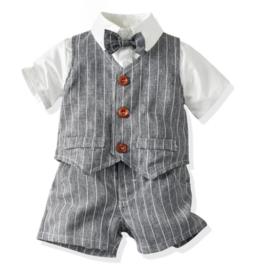 Gentleman jongenspak kort, grijs/wit