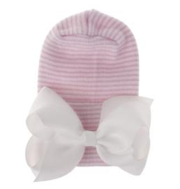 Newborn muts ROZE gestreept met witte strik