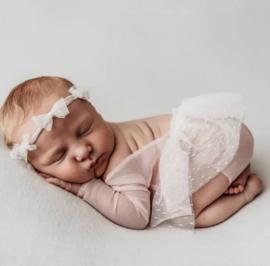 Newborn  fotoshoot pakje blosjesroze + haarband