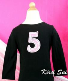 Verjaardag shirt zwart, getal 1 t/m 6