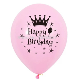 Ballon Happy Birthday roze (4 stuks)