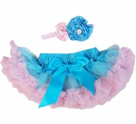 Pettiskirt Blauw Roze + haarband
