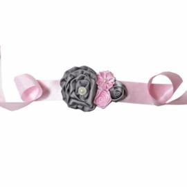 Luxe riem handgemaakt roze-grijs