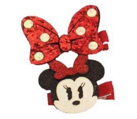 Minnie Mouse rood + strik haarclip (2-stuks)