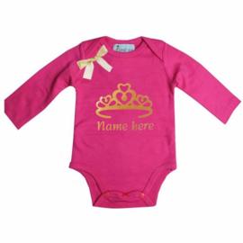 Baby shirt Kroon pink + eigen naam lang/korte mouw