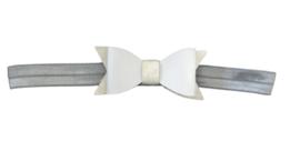 Haarband strik , zilver/wit