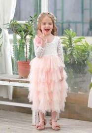 Lange romantisch jurk kant, lange mouw roze