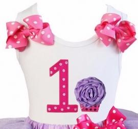 Top 1 jaar stippen pink lavandel cupcake