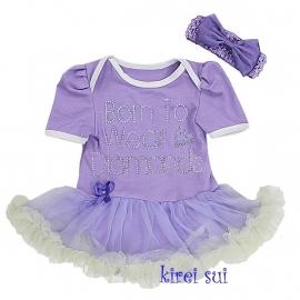 Babyjurk lavendel  'Born to wear diamonds' + haarband