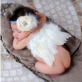 Newborn engelen vleugels wit + bloem haarband