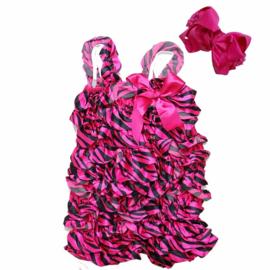 Baby Jumpsuit Zebra Pink + haarband