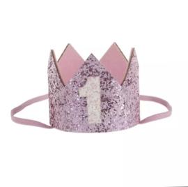 Haarband kroon roze 1 jaar