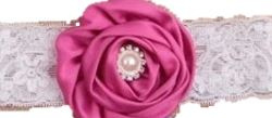 Haarband luxe kant rozet PINK parel