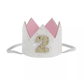 Haarband kroon wit 2 jaar
