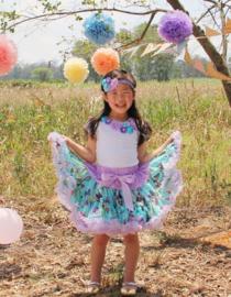 Setje feestjurk vlinders + haarband