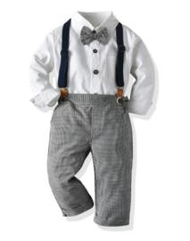Jongens outfit met bretels en strik - geruit (4-delig)