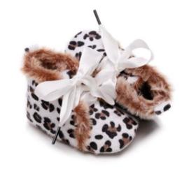Babyschoen luipaard print wit