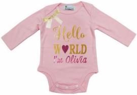 Baby shirt Hello World licht roze + eigen naam