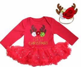 Babyjurk First Christmas, rendier  + haarband rendier