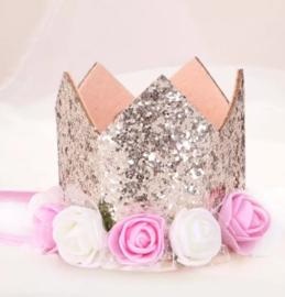 Haarband kroon champagne glitter