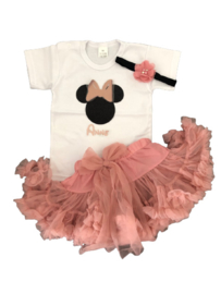 Minnie Mouse set  rosé goud +  naam (3-delig)