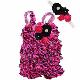 Jumpsuit Luxe Zebra Pink + haarband