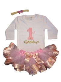 One verjaardag set, roze(3-delig)
