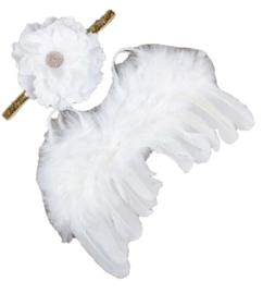 Newborn engelen vleugels wit+ haarband bloem